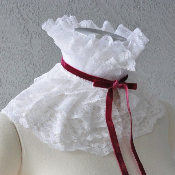 Victorian Inspired White Lace And Velvet Ribbon Ruffle Collar Necklace Cowl Statement Piece