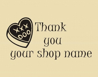 Hug and Kisses Thank you - Rubber Stamp - Design R014