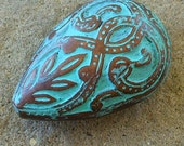 Teardrop bead, VERDIGRIS and copper teardrop, PAISLEY hand altered focal bead 2 pcs