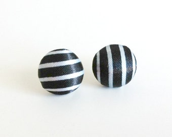 Striped Button Earrings
