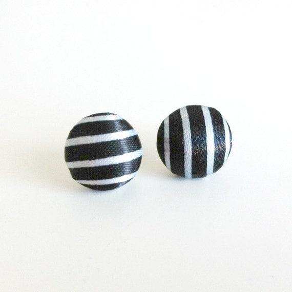 Striped Button Earrings