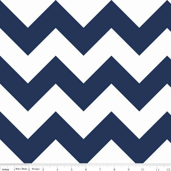 Two (2) Yards-Riley Blake Large Sized Chevrons Navy Blue White Quilter's Cotton Fabric C330-21 Navy