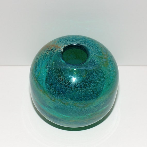 Vintage Mid Century Mdina Malta Glass Globe Vase Circa 1960s