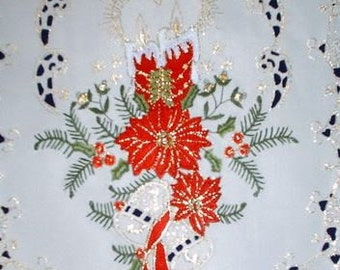 """48"""" Christmas Holiday Table Runner or Dresser Scarf with Red Candles and Poinsettia"""
