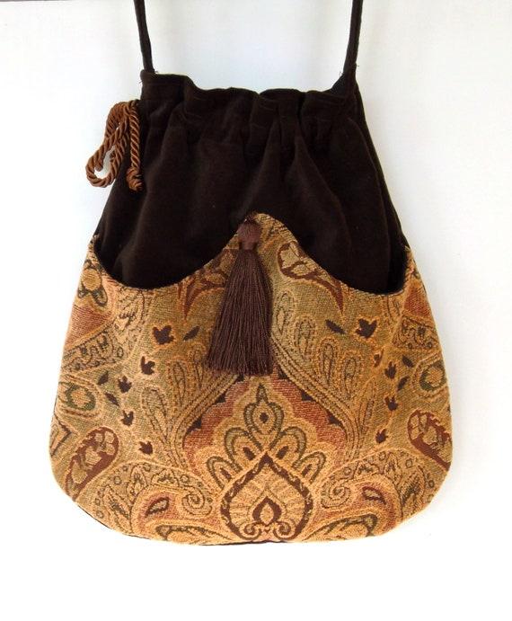 Brown Tapestry Pocket Bag  Boho Bag  Brown Velvet  Crossbody Purse Piperscrossing Bag