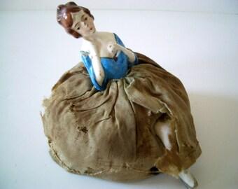 Vintage Victorian Porcelain Half Doll with Blue dress
