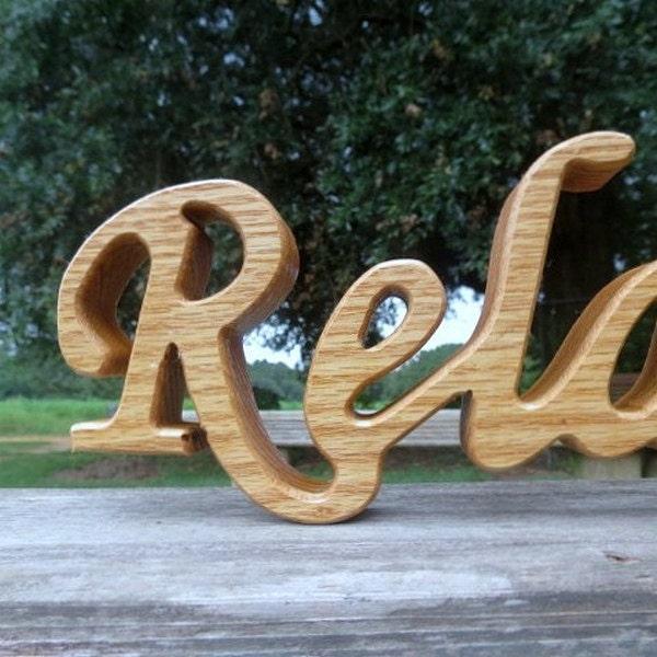 Ships Canada Us Wide Wood Sign: Wood Relax Sign Shelf Sitter Word Art Oak Hardwood By Manwood