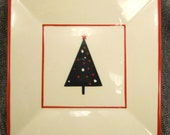 Plate Ceramic CHRISTMAS TREE Designer At Home AMERICA handpainted app 6 X 6