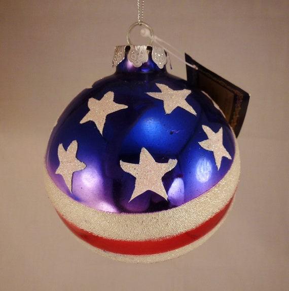 Steele S Christmas Tree Farm: CHRISTMAS Robert Stanley Patriotic U S FLAG Round Glass Tree