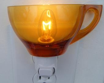 Vintage Amber Pressed Glass Tea Cup  Custom  Night Light