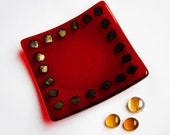Red and Gold Small Fused Glass Plate, Decorative Plate, Home Decor