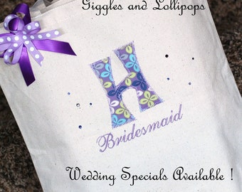 Girls personalized canvas tote bag  flower girl bridesmaid wedding totes teacher tote
