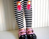 Russian Nesting Doll Leggings Matryoshka Tights in Black and White Stripe Leggings -  Girls Sizes 2  3T, 4  5, 6  7, 8, 10