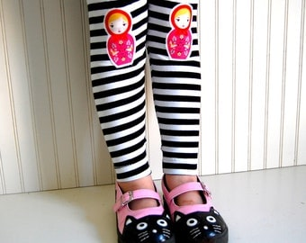 Girls Leggings Nesting Doll Leggings Matryoshka Leggings Nesting Doll Tights  Babushka Leggings Black and White Stripe Leggings
