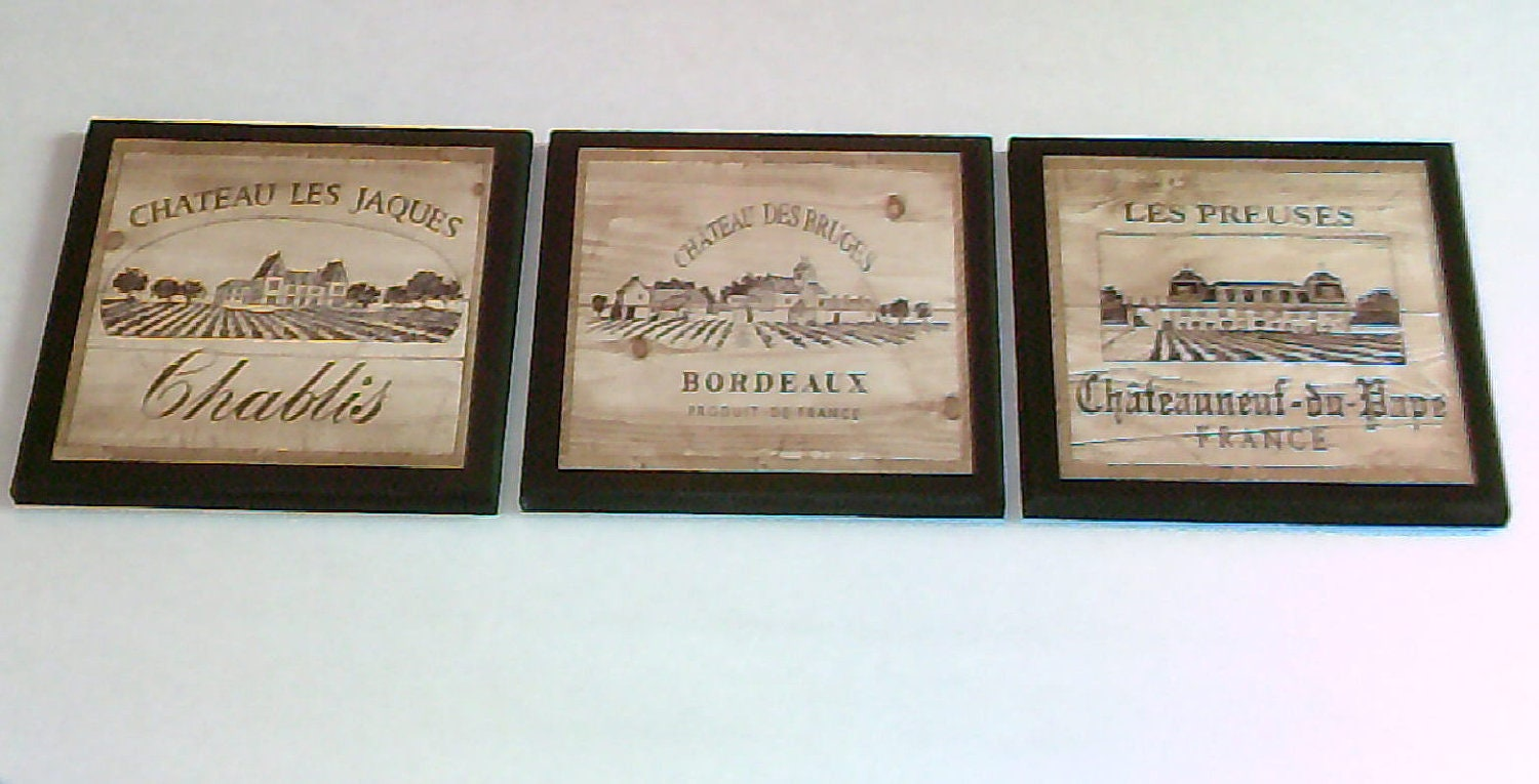 Wine Crate Label Style Kitchen Wall Decor Plaques 3pc French Vineyard Scenes Zoom