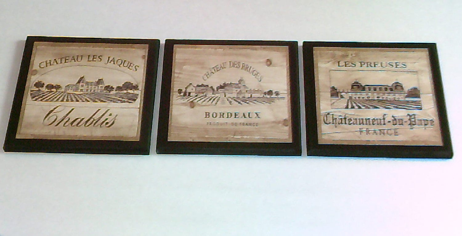 Wine Wall Decor wine crate label style kitchen wall decor plaques 3pc french