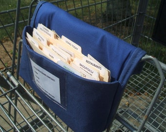 Fabric coupon organizer  and Receipt Holder Blue Cotton Twill