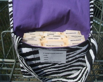 Coupon Holder Mega Large Zebra Fabric Purple Lining