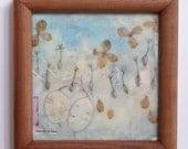 Daintily in Blue, framed art, encaustic painting, hydrangea, silver dollars, dandelion seeds