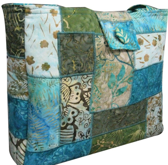 Purse in Turquoise and Green Batik Fabrics