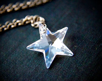 Star Necklace, Crystal Necklace, Crystal Star, Swarovski Crystal, Swarovski Jewelry, Swarovski Star, Night Sky, Celestial Jewelry, PoleStar