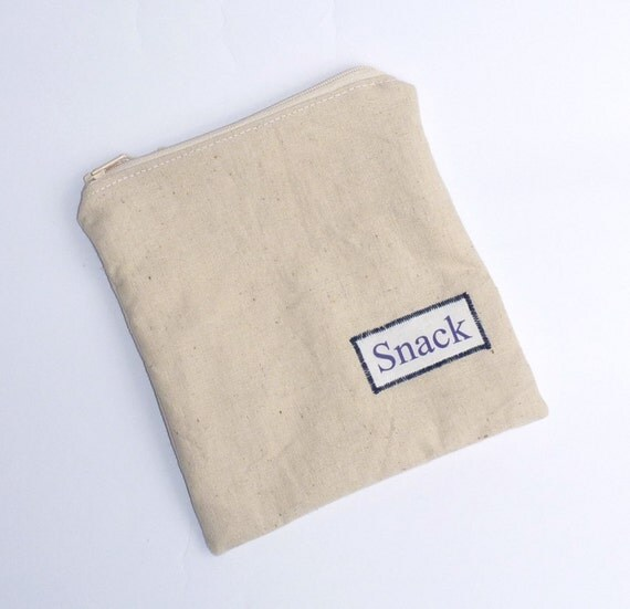 Reusable Organic Snack Bag Sandwich Cloth - SNACK Eco Friendly Waterproof Zip by BonTons on Etsy