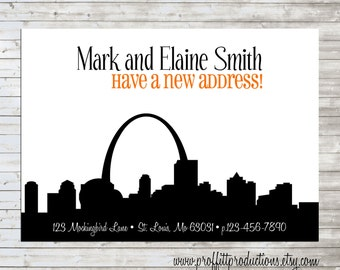 Modern City Skyline Silhouette custom moving or change of address card - digital file