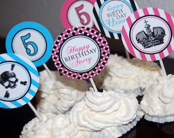 Pirates and Princesses custom printable cupcake toppers or favor tags - digital file