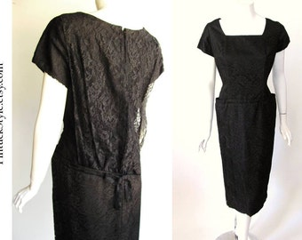 SALE..50s Lace Dress / Vintage 1950s LBD Party Dress, Draped Back Lace Drape / Mad Men Cocktail Dress / Black Widow Halloween Dress / Large