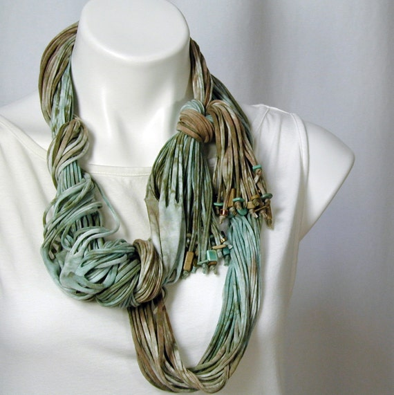 The Soba Scarf in Aqua, Nile Green, and Cafe au Lait