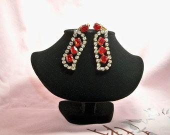 Vintage Czechoslovakia Red Rhinestone Dangling Earrings