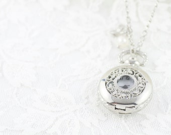 Timeless - Moon River Necklace - Elegant, Exquisite, Beautiful Everyday Pocket  Watch Necklace. Sweet Heirloom Quality Gift.
