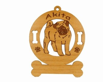 1180 Akita Pup Personalized Dog Ornament