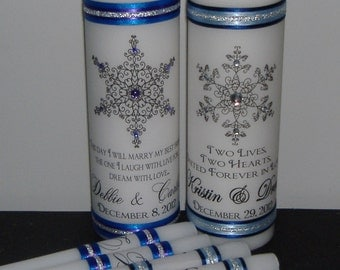Unity Candle Set with Snowflakes - Choose your snowflake and colors