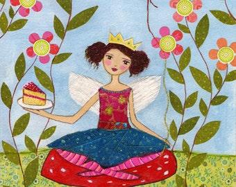 Folk Art, Party Fairy Art Print from my Original Painting, Children Decor