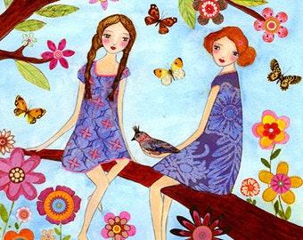 Whimsical Sister, Best Friend Art Print, Whimsical Folk Art, Nursery Decor, Children Art