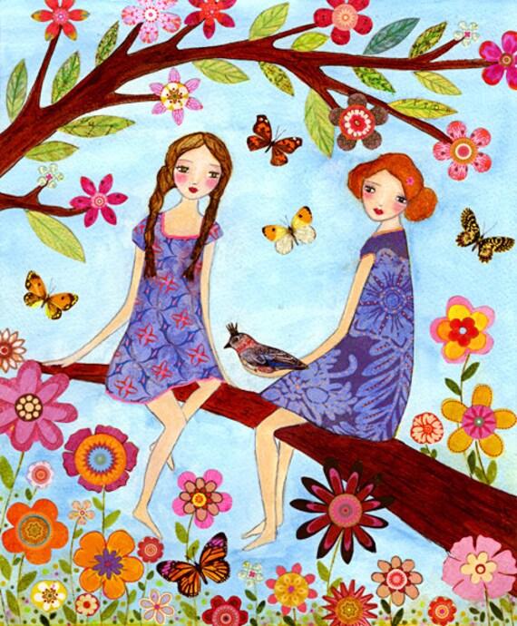 Whimsical Sister Best Friend Art Print Whimsical Folk Art