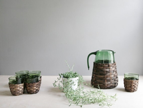glass & rattan pitcher and glasses set