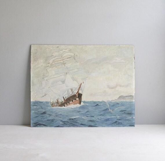 ship at sea / original vintage painting