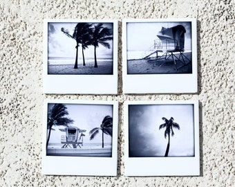 Beach Coasters Instant Film Style Ceramic, Lifeguard, Palm Trees  Set of 4 Black and White Photography