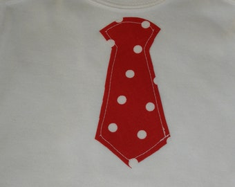 Baby Boy Red and White Dot Tie Onesie - You PICK the SIZE