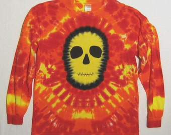 Long Sleeved Tie Dye Shirt, Yellow Faced Skull,  Size Adult Large