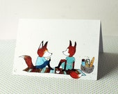 Greeting card - picnic foxes
