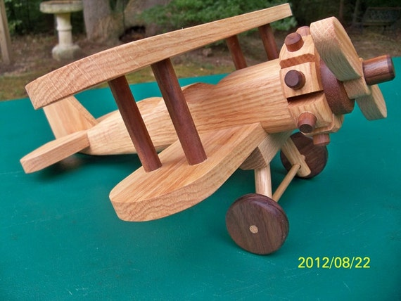 Wooden Handmade toys Large Airplane Biplane  Oak & Walnut hand finished with all natural Beeswax