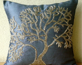 """Handmade Blue Pillows Cover, 16""""x16"""" Silk Pillows Cover, Square  Beaded Tree Decorative Pillows Cover - Paradise Tree"""