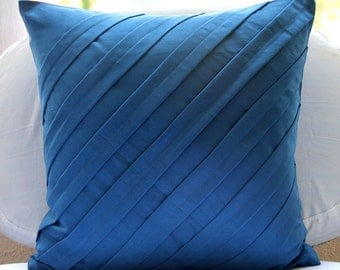"Luxury Blue Cushion Covers, 16""x16"" Faux Suede Pillowcase, Square  Textured Pintucks Solid Color Decorative Pillows Cover -Contemporary Blue"