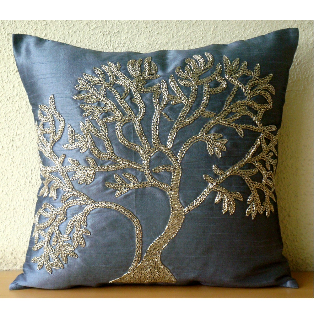 Blue Beaded Throw Pillow : Handmade Beaded Tree Decorative Pillows Cover Blue Pillows