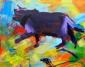Wondering the Garden 4 original abstract acrylic cat painting
