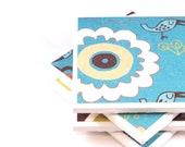 Coaster Set - Bright Blue, Yellow and White - Set of 4 Ceramic Tile Coasters