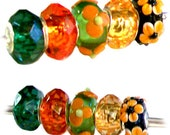 MERZIEs 5 silver faceted acrylic lampwork glass flower European charm chain beads - green orange yellow black